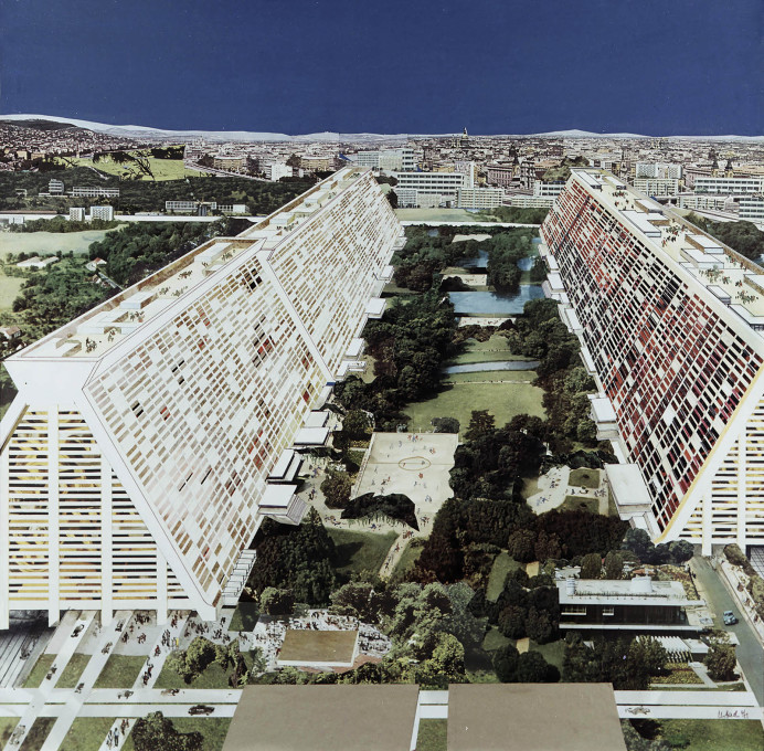 "Collage from 1971 showing an unrealised design for a ""Großhügelhaus"", a massive social housing project designed by Josef Kaiser."