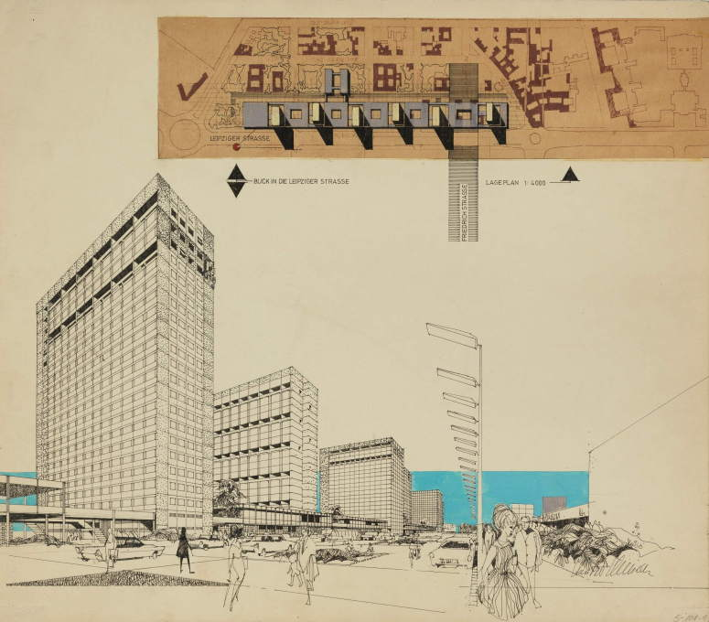Hans-Peter Schmiedel: design for a residential and commercial complex on Leipziger Straße, East Berlin, circa 1967. (Image © Berlinische Galerie)