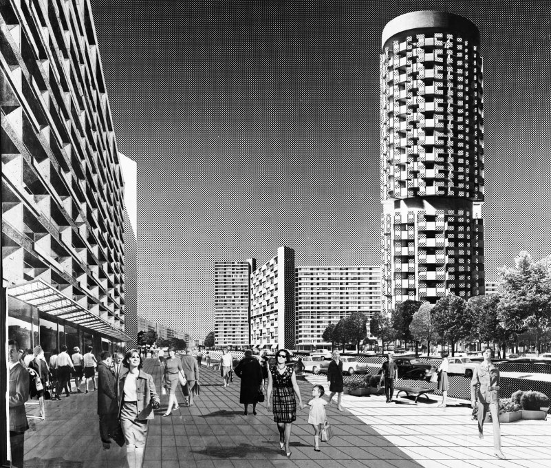 Unrealised design by Manfred Jäckel and Lothar Kwasnitza for East Berlin's Leninplatz (today: United Nations Square), collage from 1967.