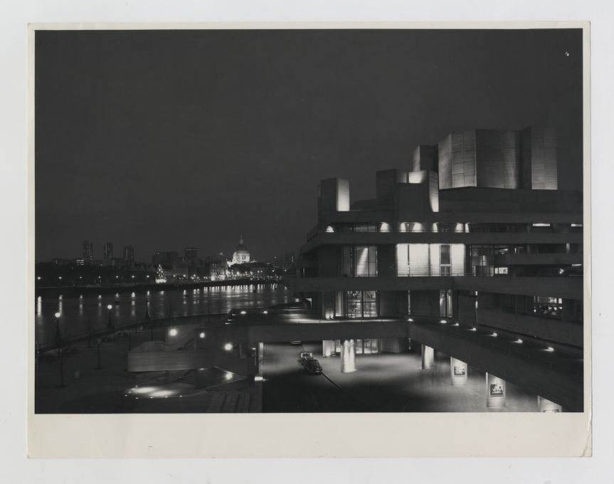 Upon its completion, the mid-century modernism of Lasdun's theatre and the Barbican towers (left) stood in contrast to the classic dome of St Paul's Cathedral. (Photo courtesy NT Archive)