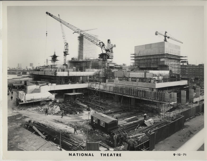 The theatre in mid-construction, December 1971. Due to industrial action by miners and the resulting three-day week, the theatre would not be completed until 1976. (Photo courtesy NT Archive)