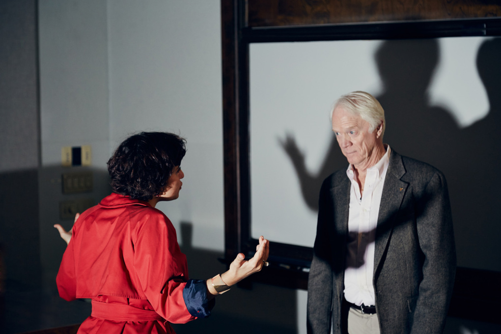 "Nelly Ben Hayoun directing Rusty Schweickart, Apollo 9 astronaut for ""Disaster Playground"". (Photo: Nick Ballon, © Nelly Ben Hayoun)"
