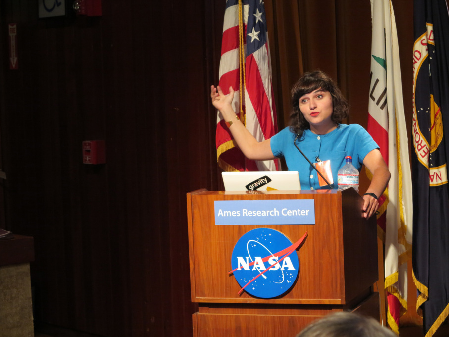 Nelly Ben Hayoun speaking at the NASA Ames Research Center. (Photo courtesy: Nelly Ben Hayoun)