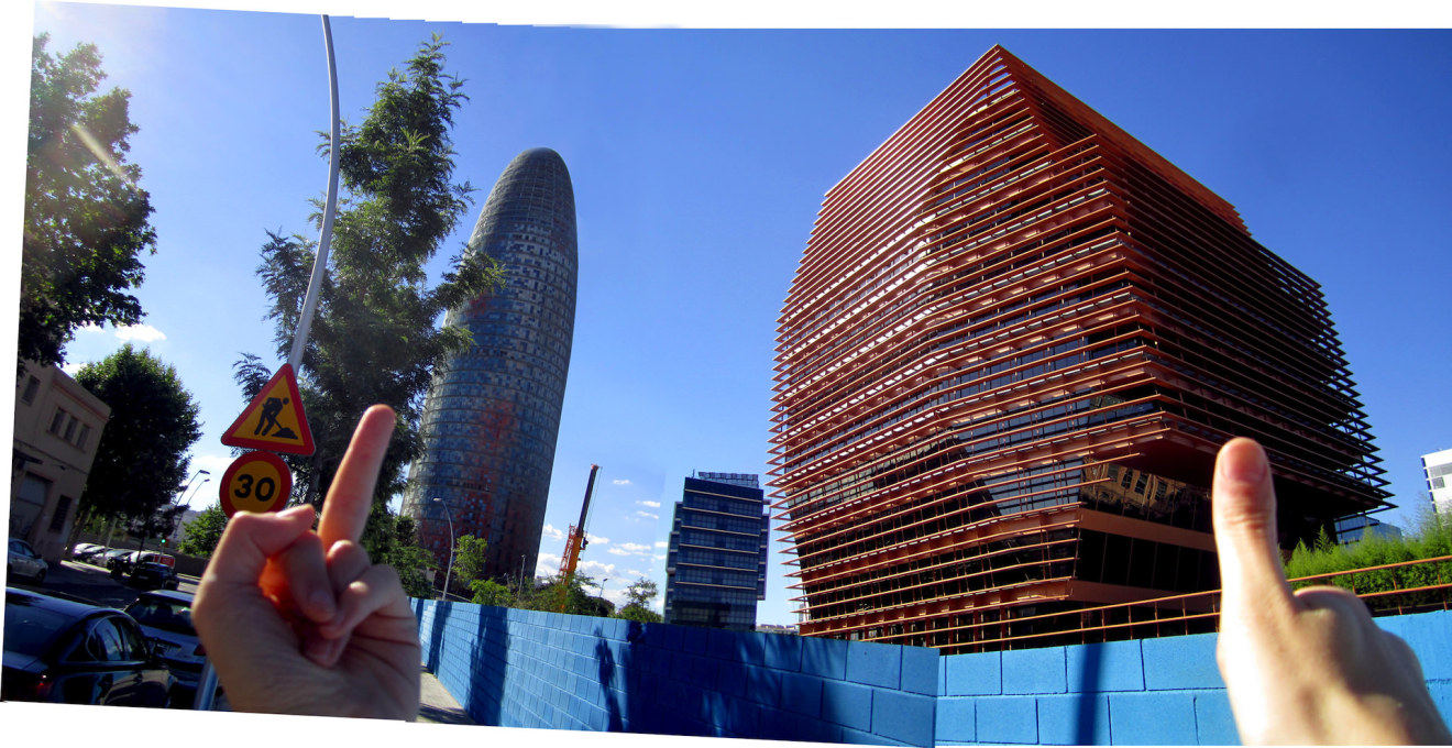 Next to Nouvel's Torre Agbar protrusion, Batlle i Roig's CMT building is a sensitive addition to Barcelona's 22@ neighborhood. (Photo composite: Nick Axel)