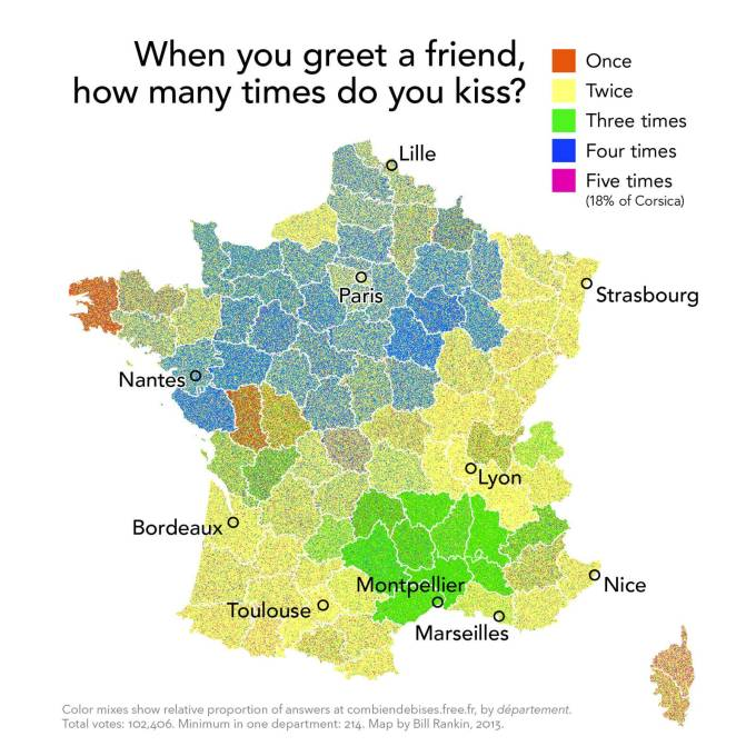 "The ""downright fanciful"" map of kissing in France. (Map: Bill Rankin)"