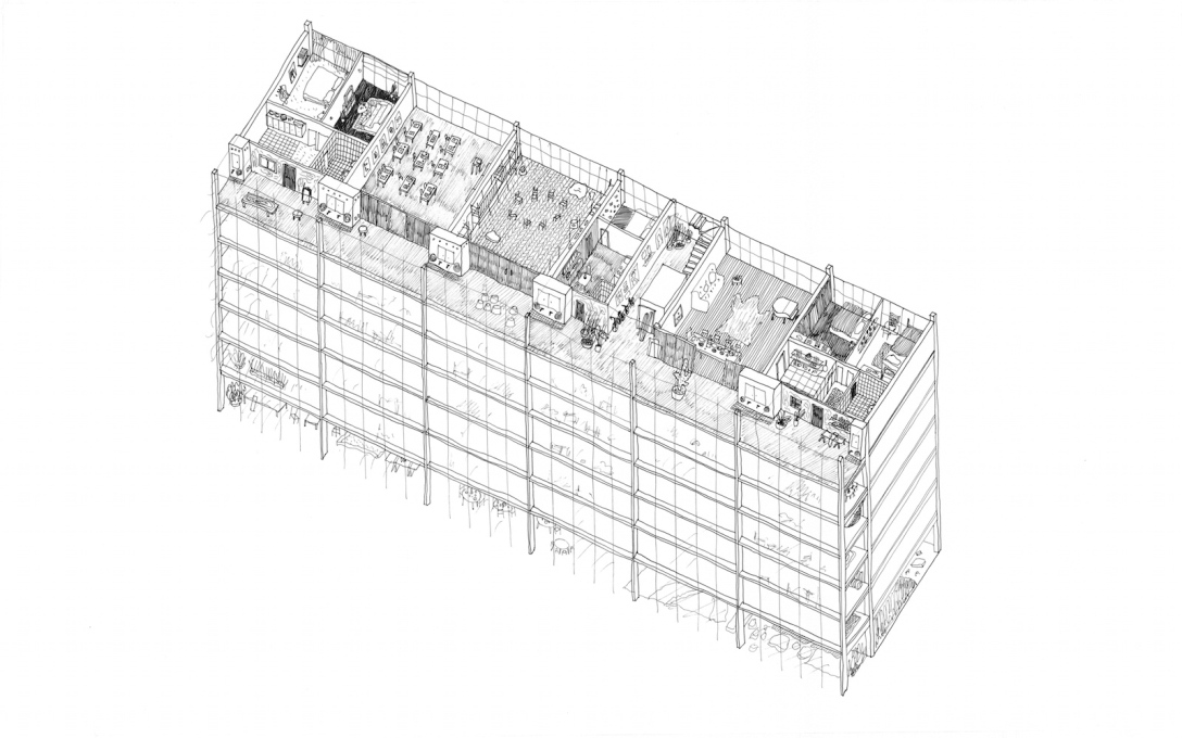 Axonometric view showing a typical floor-plate.
