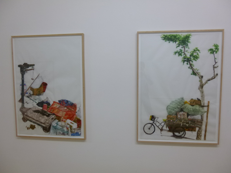 Messy personal architectures: Scales (Garbage collectors, Shanghai), (2010); Cycling and transport tree (Garbage collectors, Shanghai) (2010). (Photo: Jesse Coburn)