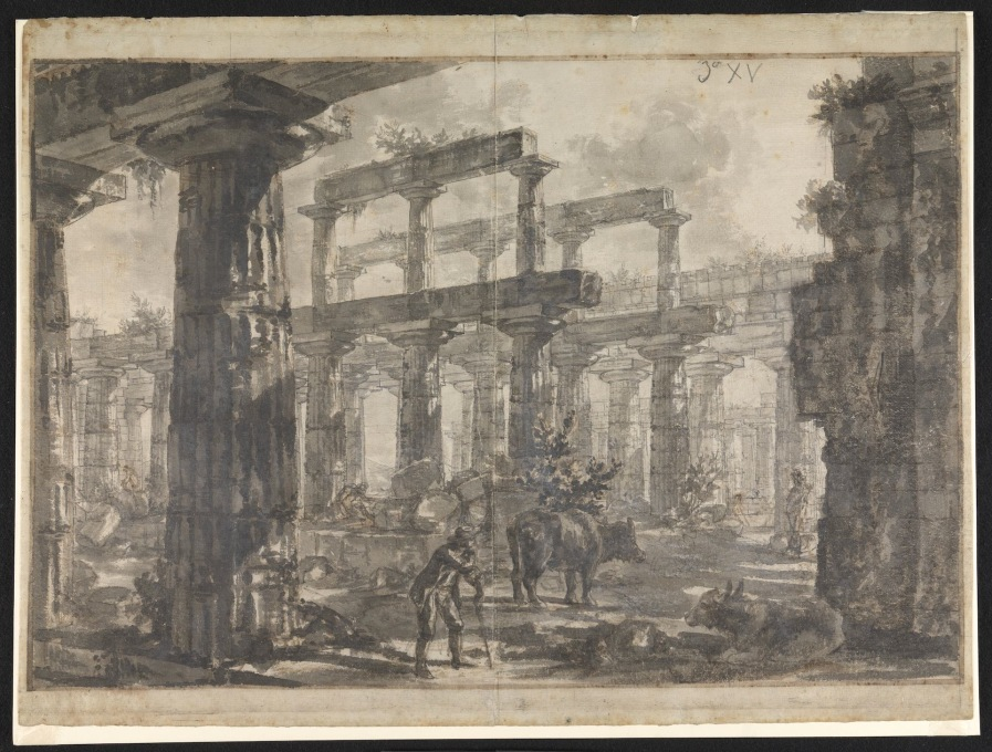 "And ones delighting in layered perspectives, of columns on columns on columns: ""Paestum Italy: Interior of the Temple of Netune from the North-East."" (Image © Sir John Soane′s Museum)"