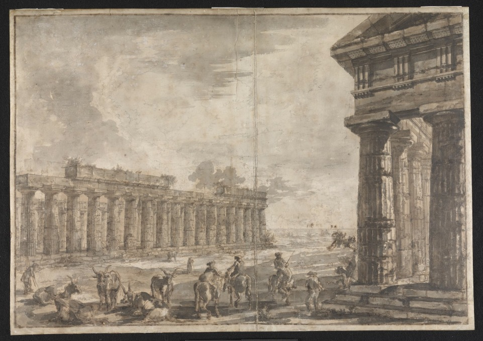 "This sequence of Piranesi drawings are of the three Greek Doric temples at Paestum Italy. Here ""Basilica with the Temple of Neptune in the Right foreground. Exteriors."" (Image © Sir John Soane′s Museum)"