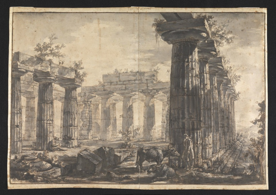 "After seeing Piranesi etchings, the drawings appear incredibly texturally rich. ""Paestum, Italy: Interior of the Basilica, from the West"". (Image © Sir John Soane′s Museum)"