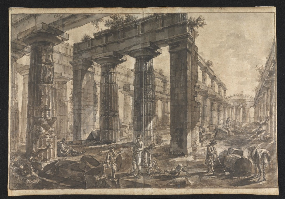 "And other more complex interior views. ""Paestum, Italy:Interior of the Temple of Neptune from the West."" (Image © Sir John Soane′s Museum)"