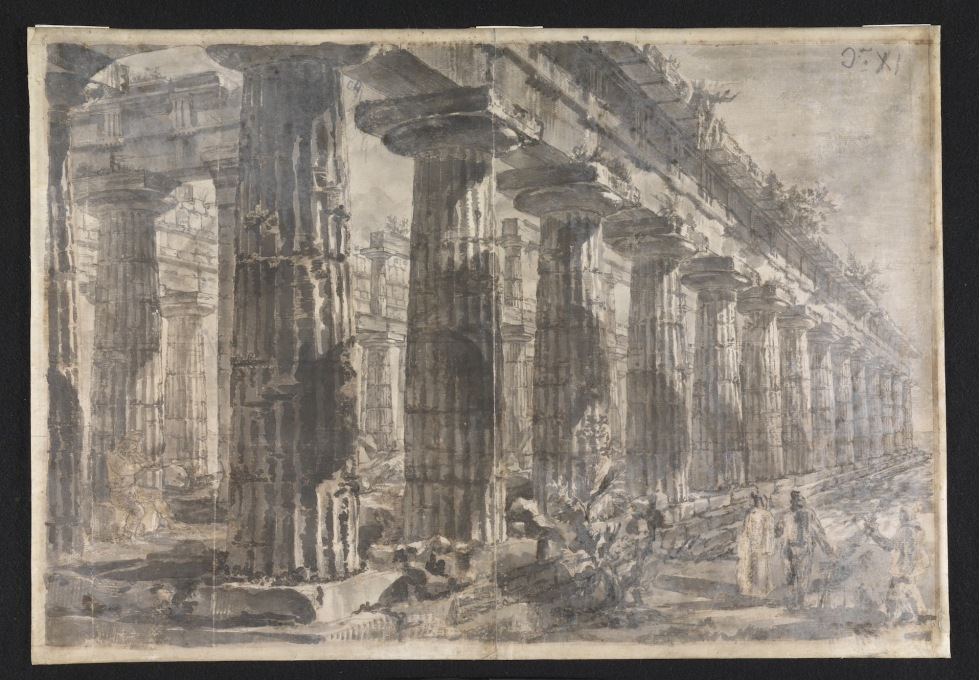 "There are simpler perspectives of serried columns. Here: ""Paestum, Italy:Interior of the Temple of Neptune from the North-East."" (Image © Sir John Soane′s Museum)"