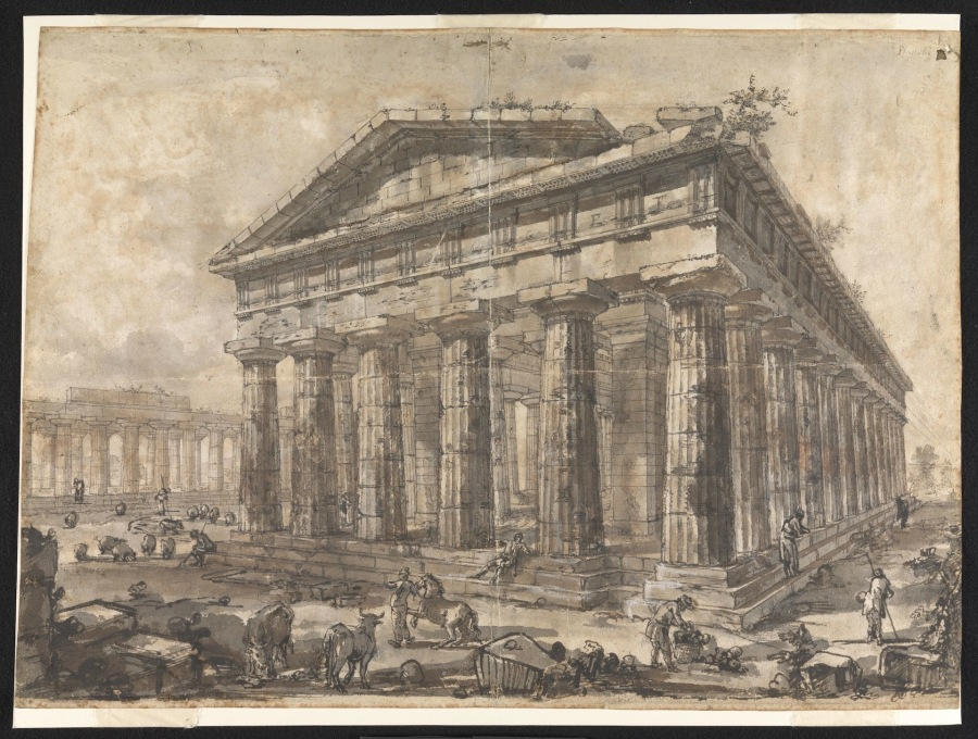 "Giovanni Battista Piranesi. ""Paestum, Italy: Interior of the Temple of Neptune from the North-East."" one of the sequence of 15 master drawings in the exhibition (Image © Sir John Soane's Museum)"