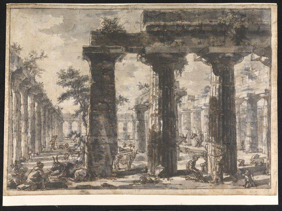 "Pure column lust: ""Paestum Italy: Interior of the Basilica from the East."" (Image © Sir John Soane's Museum)"