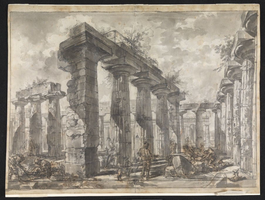 "...echoing perhaps the ruined stone piers of Piranesi. Here: ""Paestum Italy: Interior of the Basilica from the South"" (Image © Sir John Soane′s Museum)"
