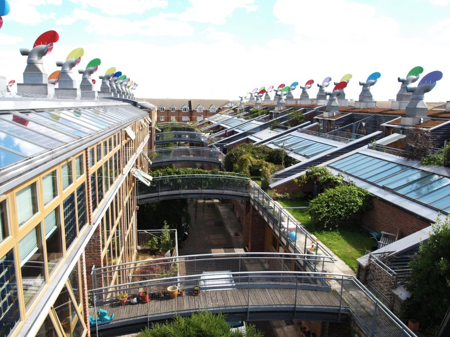 Built in 2002, Peabody's BedZED urban village, designed by Bill Dunster, was the UK's first large-scale 'carbon neutral' community and a model for sustainable housing design. (Photo: ZEDfactory)