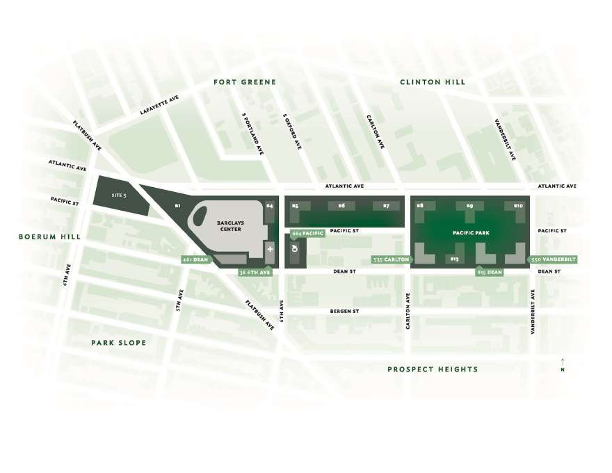 Masterplan of Pacific Park, highlighting the Barclays Center and the four residential buildings that are expected to open by 2017. (Map courtesy of Pacific Park)