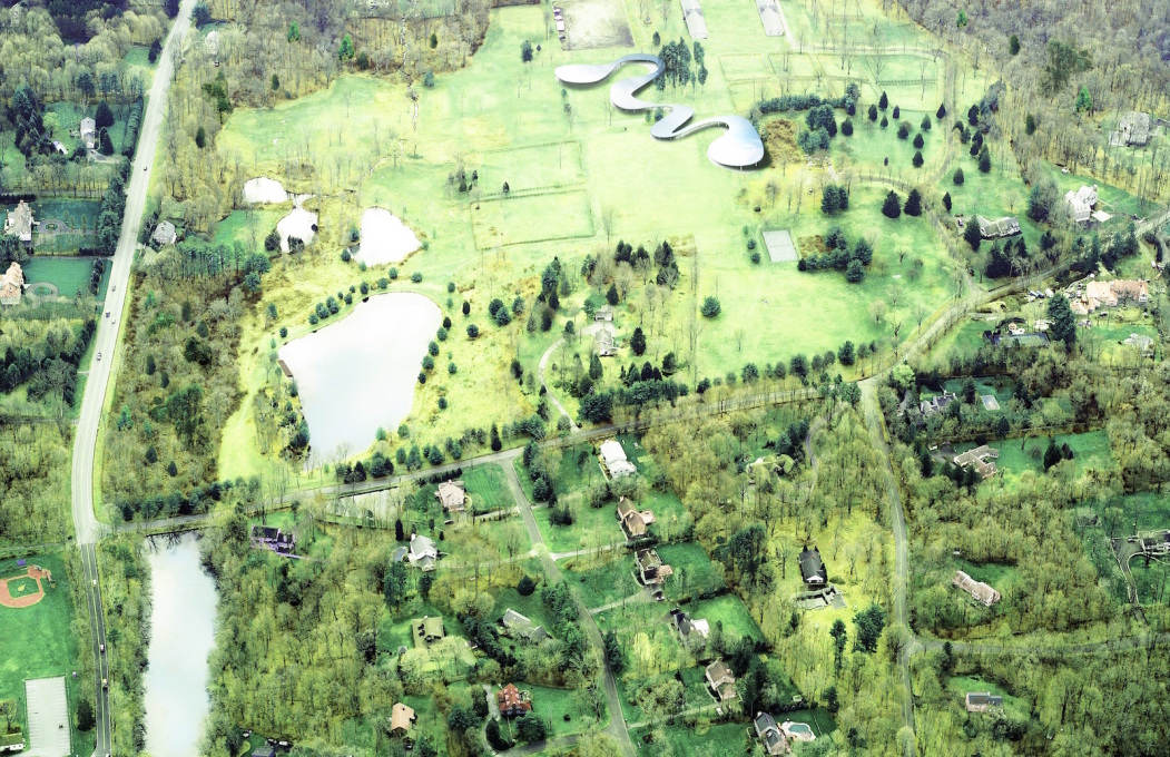 Aerial rendering of Grace Farms. (Image courtesy of Grace Farms and SANAA)