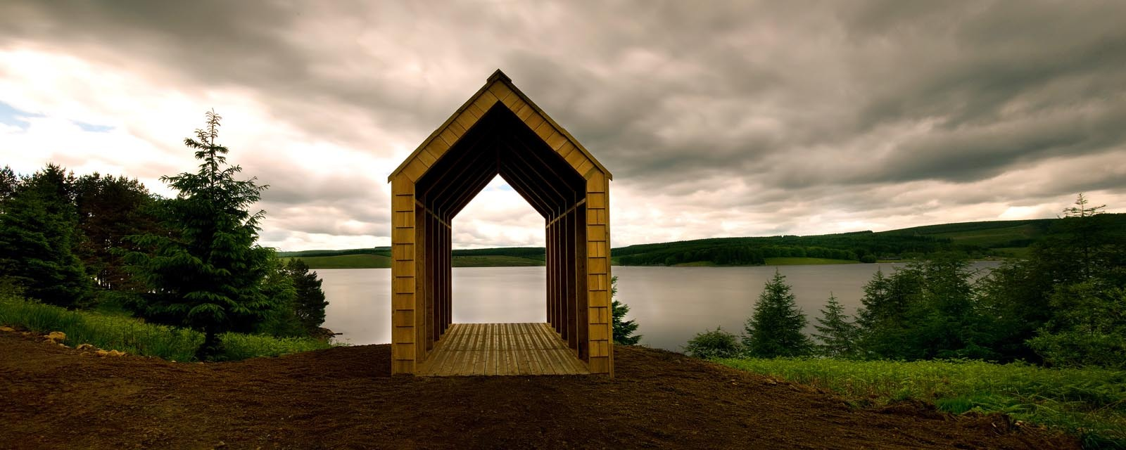 "...and Robin's Hut – ""(Robin) liked climbing trees and building wooden houses for birds..."" – ""physical manifestations of a love story embedded in the landscape"" of Kielder Water and Forest Park. (Photo courtes"