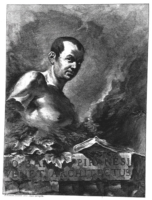 The man himself: an engraved self-portrait of Giovanni Battista Piranesi, 1760.