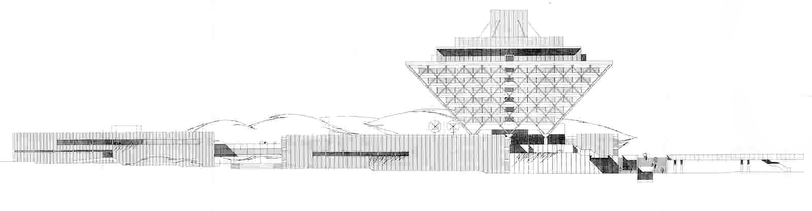 Elevation showing the walkways that connect out into the city by architects Štefan Svetko, Štefan ?urkovi? and Barnabáš Kissling.