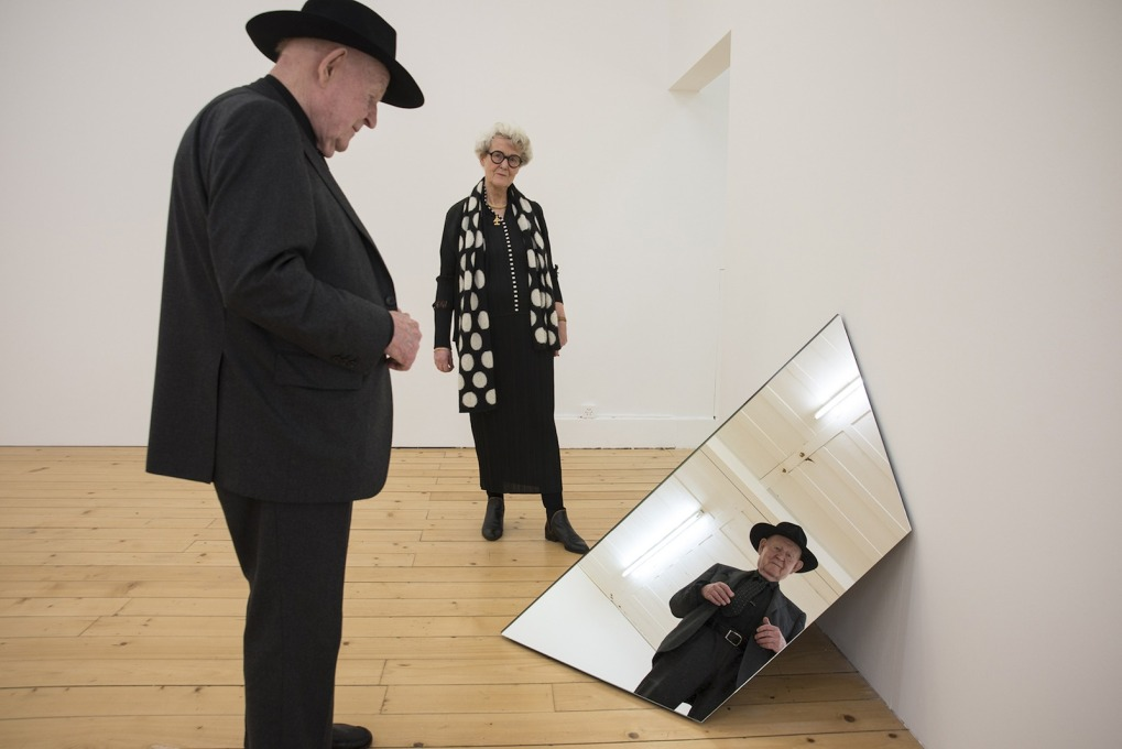 Robert and Trix Haussmann reflecting on and reflected in, their exhibition in Fri Art, Fribourg. (Photo: Primula Bosshard)