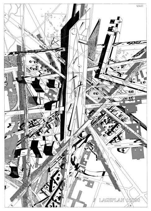 Site plan of the design for the Potsdamer Platz competition, 1992. (Photo © Studio Libeskind)