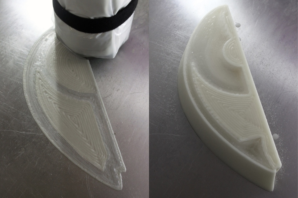 The scaled ice prototype under construction by a 3D printer.
