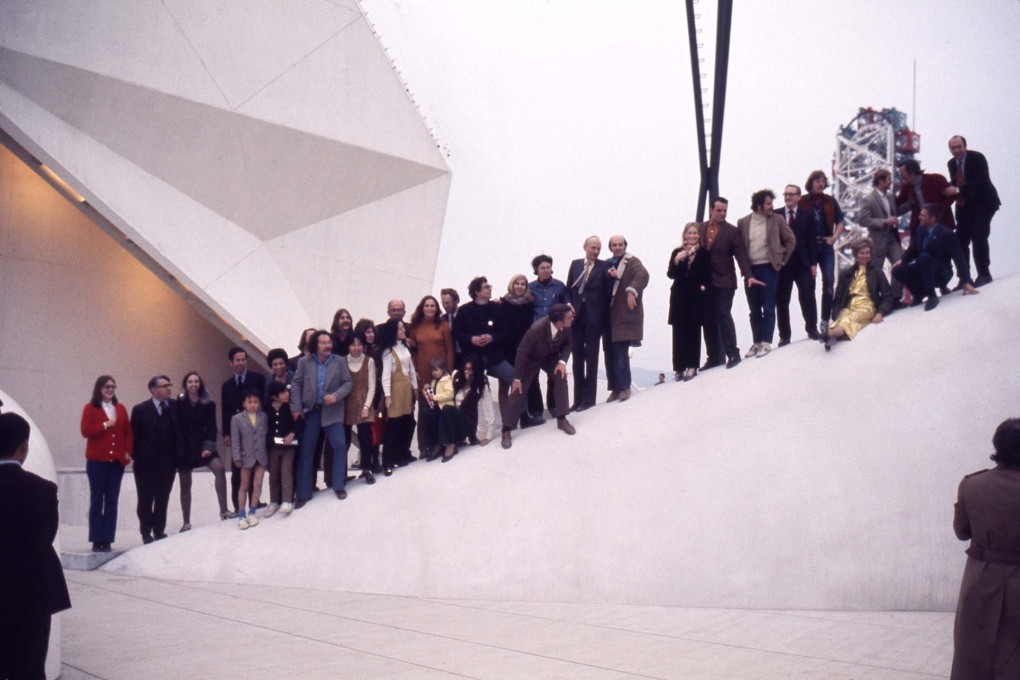 Opening day group photo of the E.A.T. team. (Photo: Shunk-Kender, © Roy Lichtenstein Foundation. Courtesy E.A.T.)