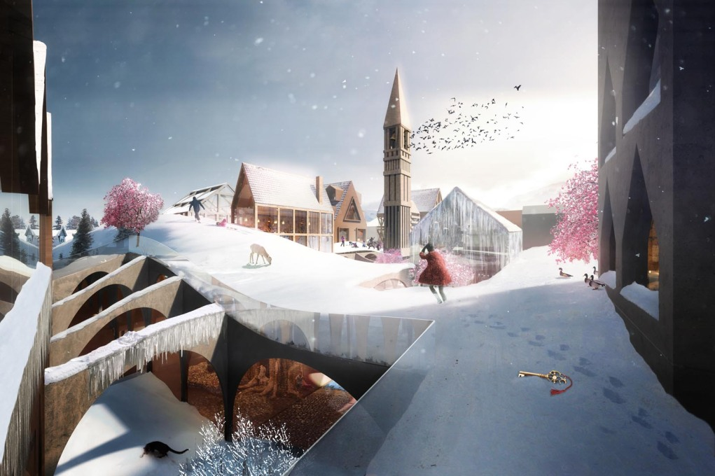 "The roofscape of the ""House of Fairytales"" proposal for the Hans Christian Andersen museum. But what does the dropped key mean?... (Image courtesy Studio Weave)"