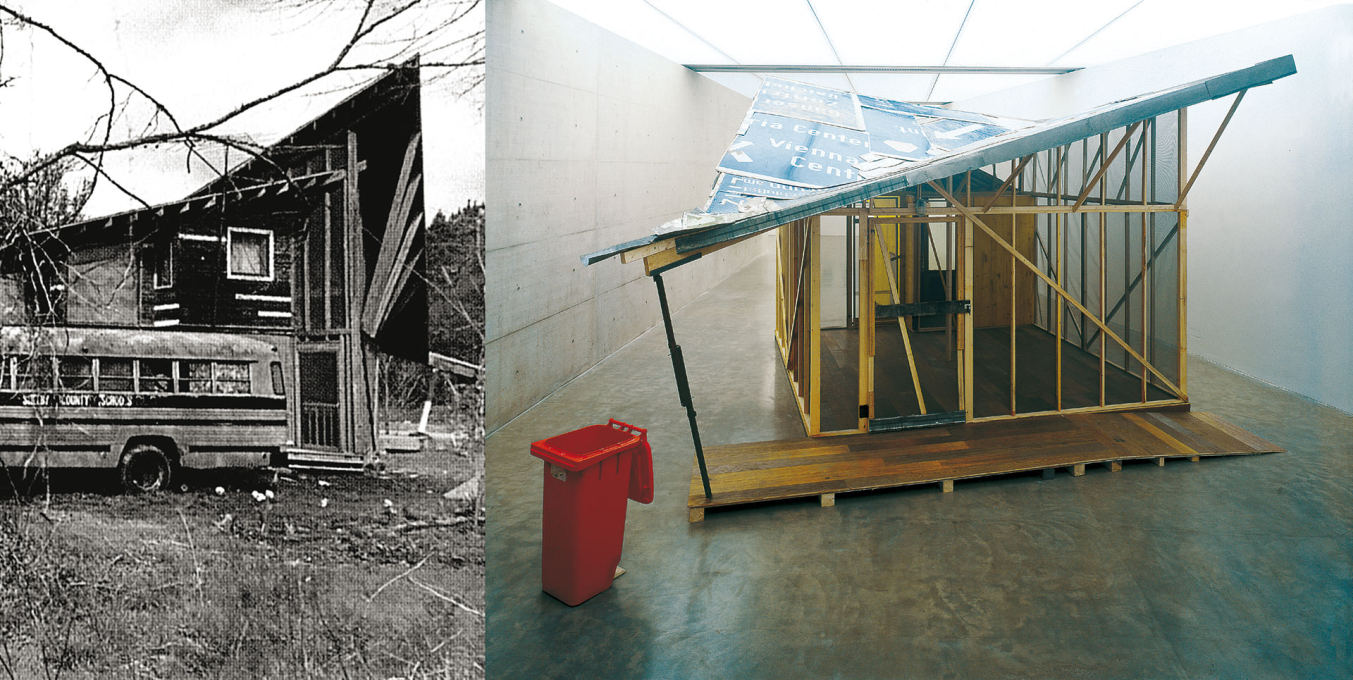 "Potr?'s case studies reproduce architecture in exhibition settings. The ""Butterfly House"" resulted from an Alabama outreach program called Rural Sudio. Generali Foundation, Vienna, 2002. (Images courtesy the artist)"