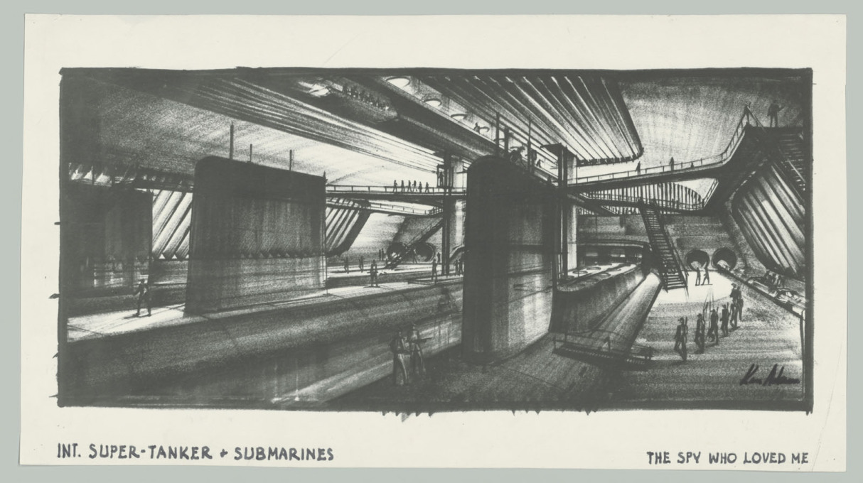 "Design study for the Liparus Super-Tanker in ""The Spy Who Loved Me"". (GB/F 1977, directed by Lewis Gilbert; image © Ken Adam Archive/Deutsche Kinemathek)"
