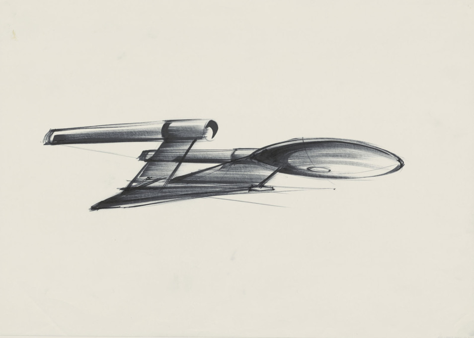 "Design sketch of the Starship Enterprise for ""Star Trek – the Motion Picture"". (USA 1979, directed by Robert Wise; image © Ken Adam Archive/Deutsche Kinemathek)"