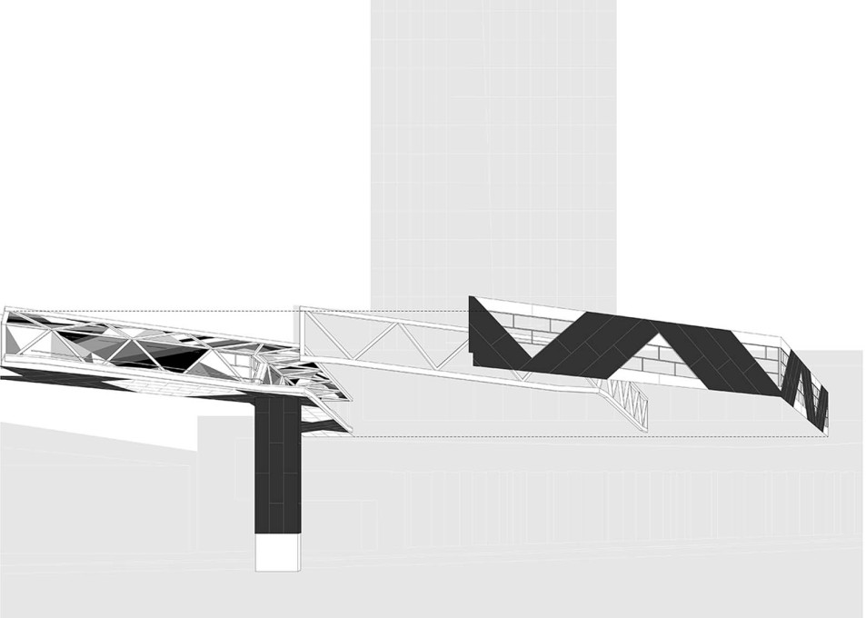 SFC Bridge: exploded perspective. (Design: James Khamsi, Jennifer Marman, Daniel Borins)