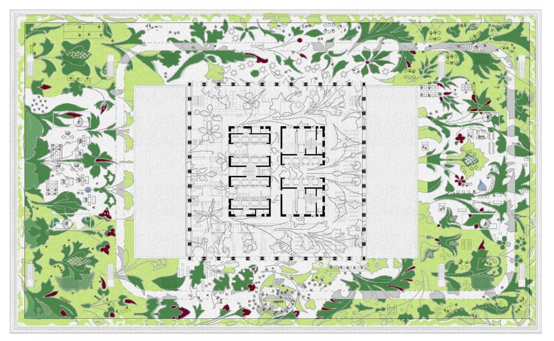 Plan of the roof-top garden, with its patterned flowerbeds. (Image: OMA)