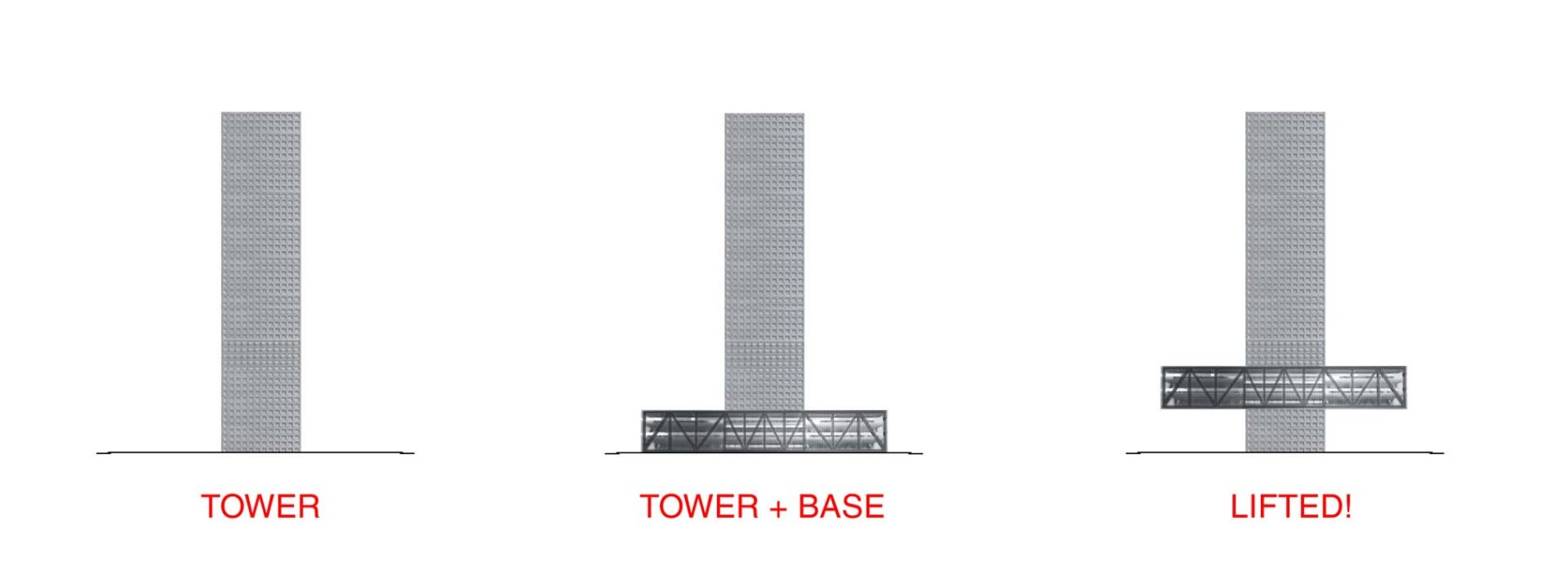 "OMA describes how the building's ""floating base"" has ""crept up the tower…as if lifted by the same speculative euphoria that drives the market"". (Image: OMA)"