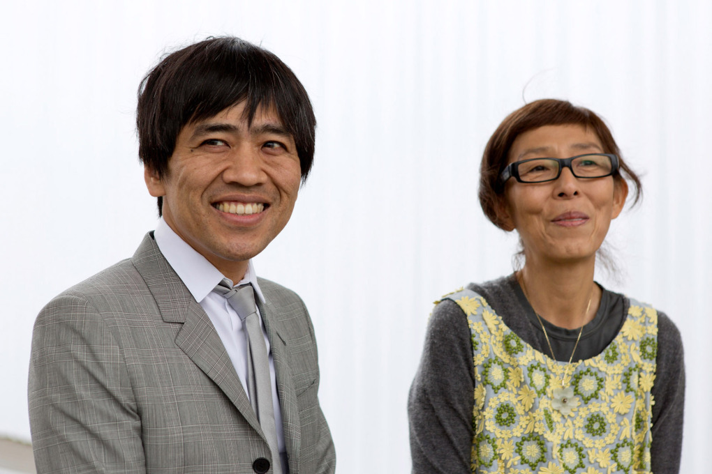 Ryue Nishizawa and Kazuyo Sejima of SANAA at the opening of their building at the Vitra Campus. (Photo: Bettina Matthiessen © Vitra)