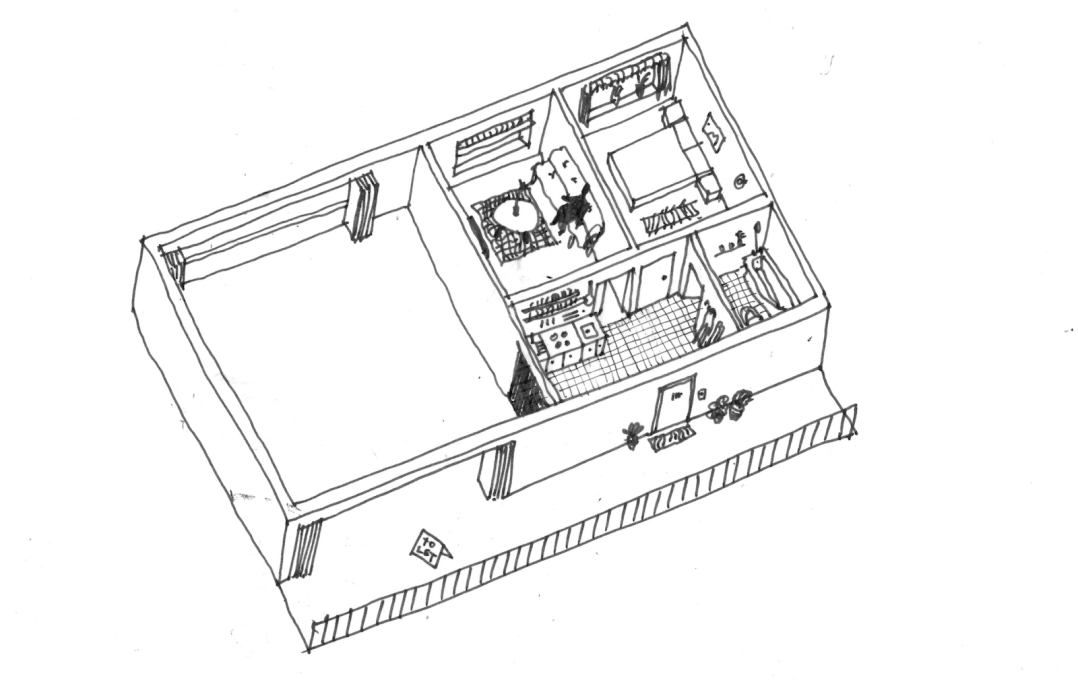 Alternative axonometric view showing an 'A' type unit inhabited with a 'B' type unit for let and fully open to the communal corridor.