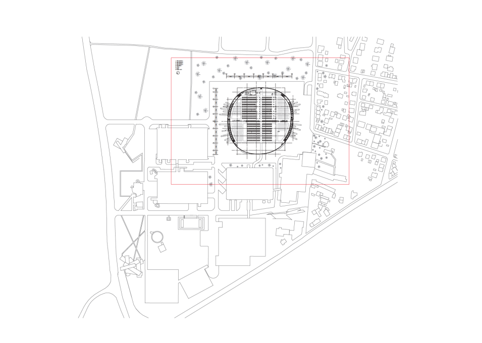 Site plan of the Vitra Campus, showing the new building's vast scale against the tiny sliver of Zaha Hadid's fire station (below right) and the distictive piled-up outline of Herzog & de Meuron's showroom (bottom left). (Image: SANAA)