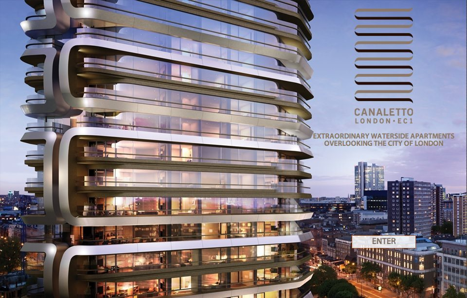 Artists' housing de nos jours – or at least named after an artist: Canaletto, a 30 storey tower off the City Road, London, designed by UNStudio, launched in October 2013. (From the developers' Orion Capital Managers website).