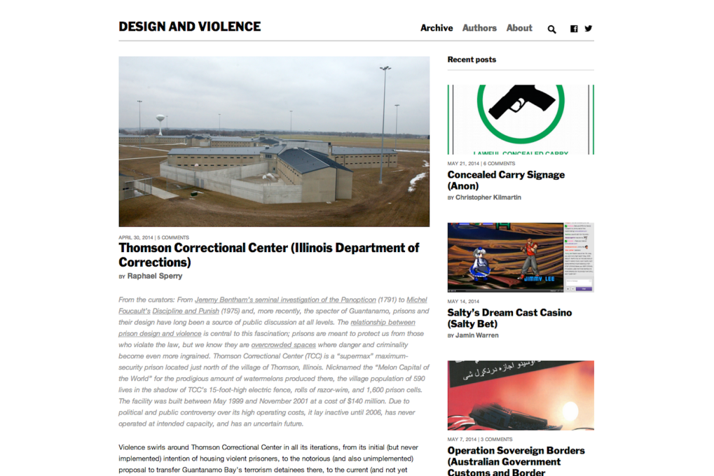 The Design and Violence website, launched in 2013, presents a series of essays by invited critical thinkers on design objects that challenge us to re-think societal norms.