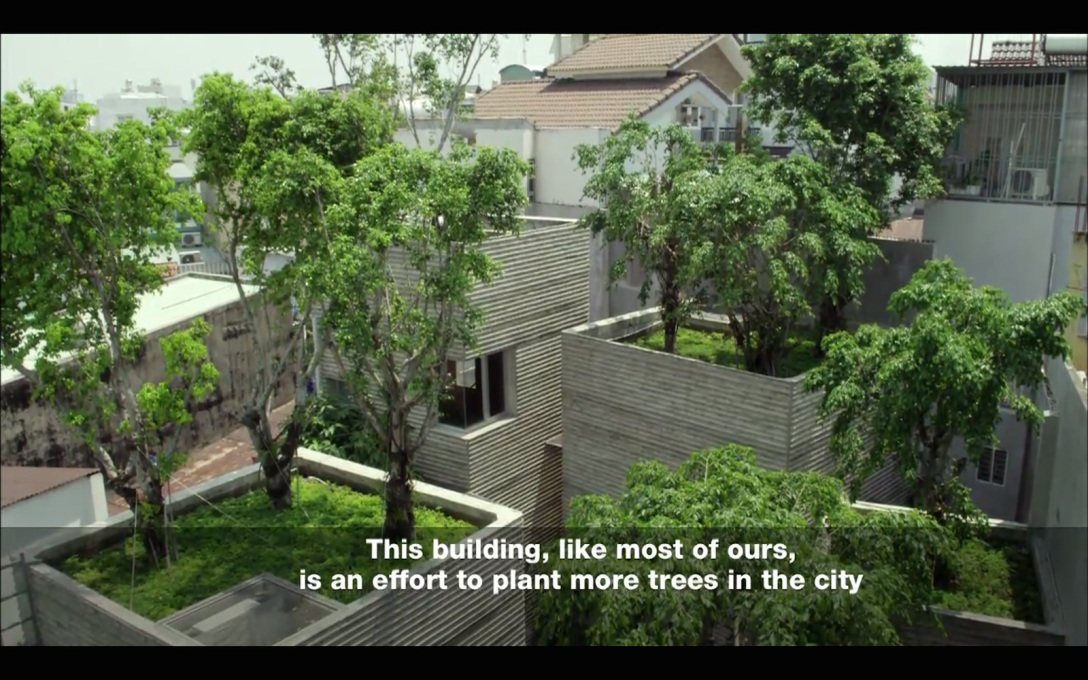 ...sees him design inner city schemes incorporating trees into and onto the structures.