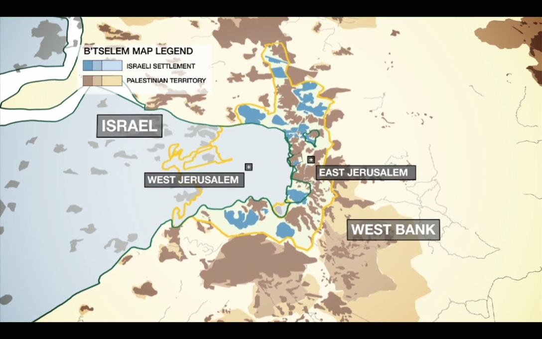 "Here, the areas in blue ""have been built like wedges, not only to serve the colonies themselves, but to consciously create material damage, cutting apart the fragile Palestinian built fabric""."