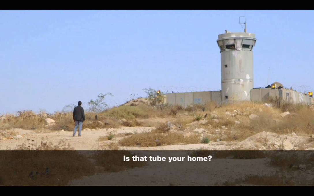 Architect Eyal Weizman questions an Israeli soldier at Oush Grab military base in the occupied West Bank, where architecture is used as a form of domination. (All video stills: Al Jazeera)