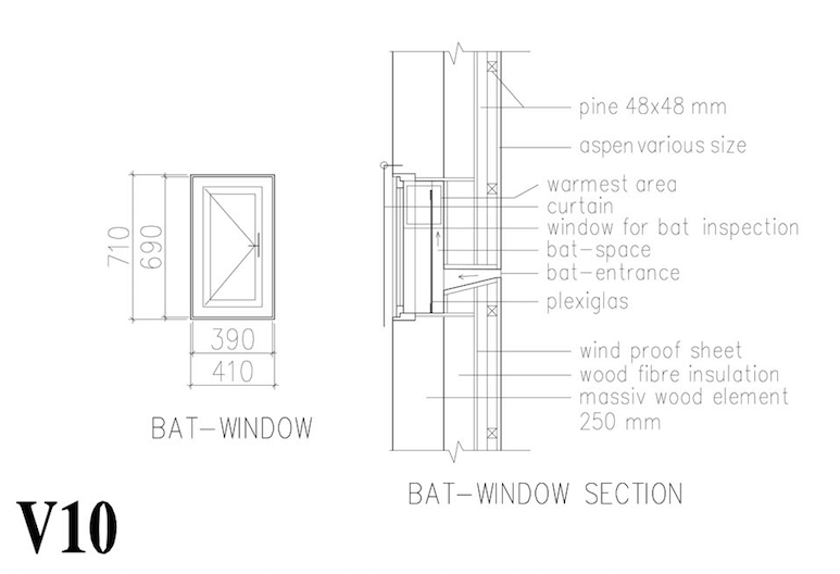 "Section and detail through the wall of a ""bat-house"". (Drawing: Malmquist Arkitektur)"