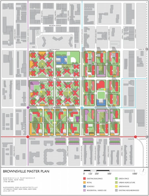 "Proposed Brownsville Master Plan by Alexander Gorlin Architects, showing the intension to ""reurbanise"" and re-establish old street patterns. (Image courtesy Alexander Gorlin Architects)"
