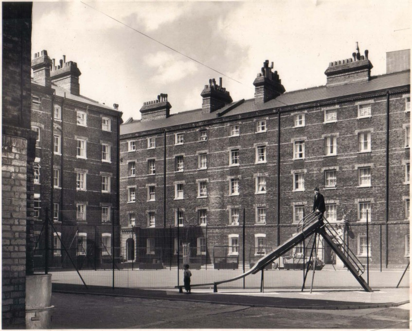 "Early Peabody housing: Southwark Street SE1, originally consisting of 12 blocks of 22 flats each, opened in 1876: intended to ""ameliorate the conditions of the poor and needy"" (Photo: © Peabody, c.1960s)"