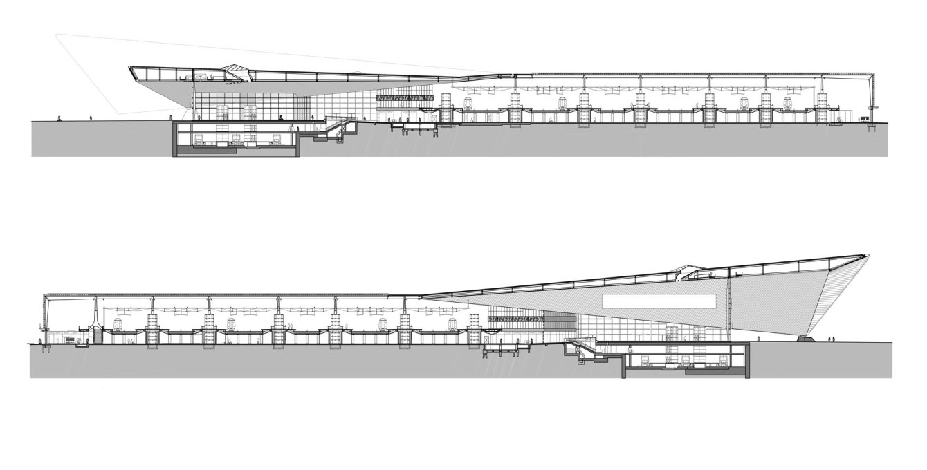 Sections through the station concourse and train-shed. Image: Team CS: a cooperation between Benthem Crouwel Architects, MVSA Meyer en Van Schooten Architects and West8