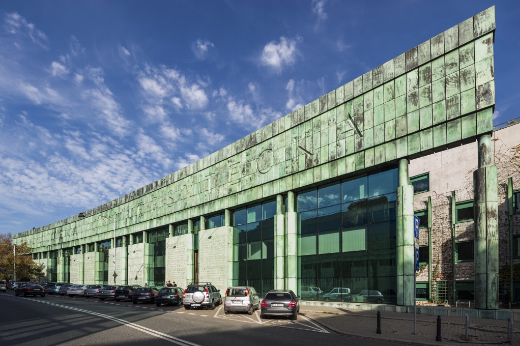 Warsaw University Library's Dobra Street façade, with its eight inscribed copper panels representing open books. (Photo courtesy The University of Warsaw)