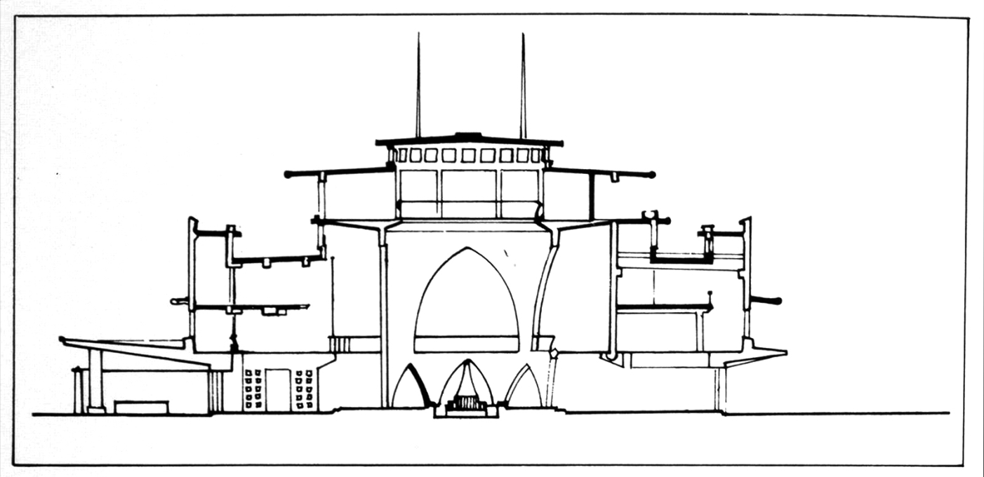 A cross section of the core building. (Archival photos © Abhinav Publications)